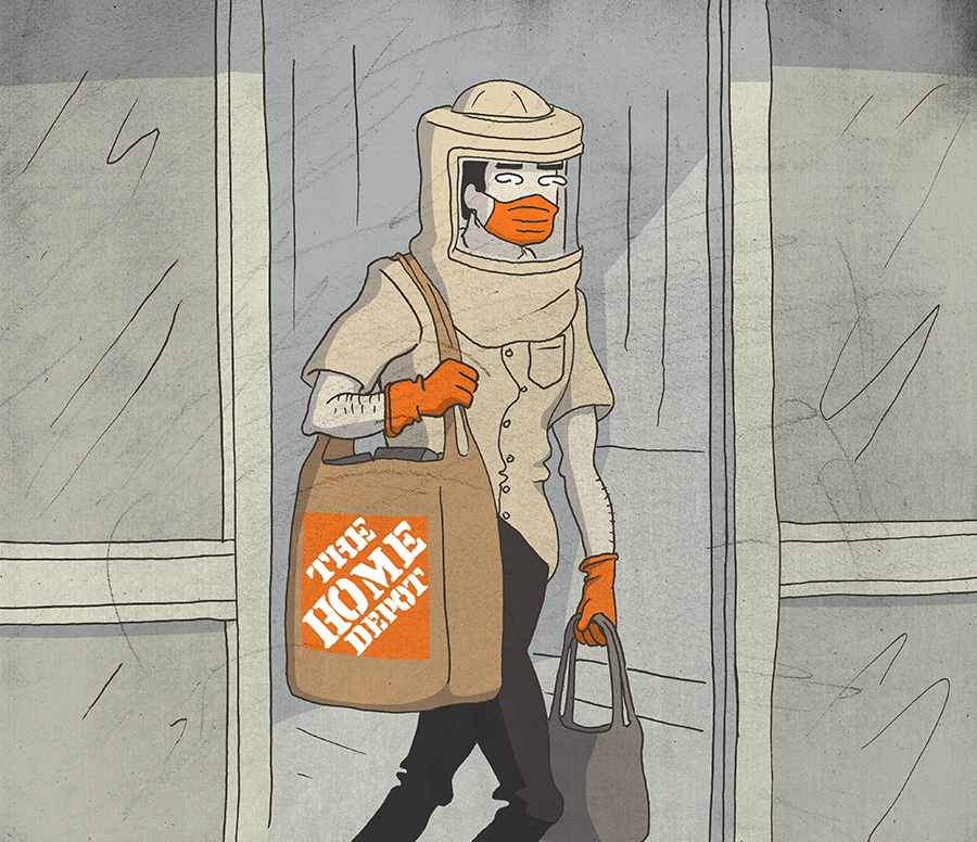 Home Depot customer wearing mask and gloves.