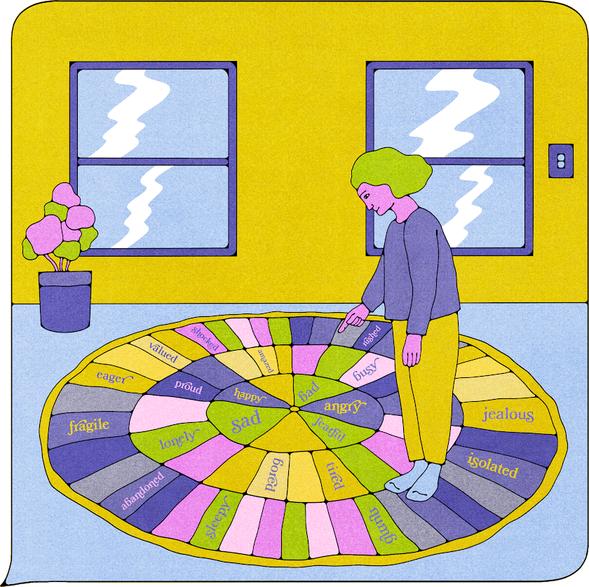 A person pointing to a feelings wheel.