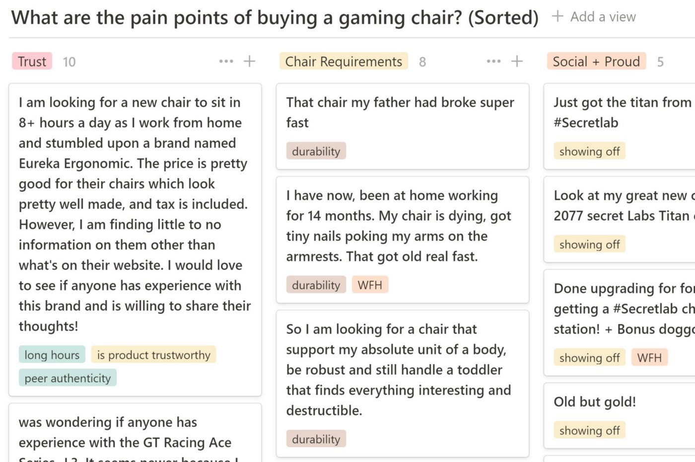"""A series of cards organized vertically. Each card highlights a specific phrase from the Reddit posts relevant to our research question of """"what are pain points of buying a gaming chair?"""""""