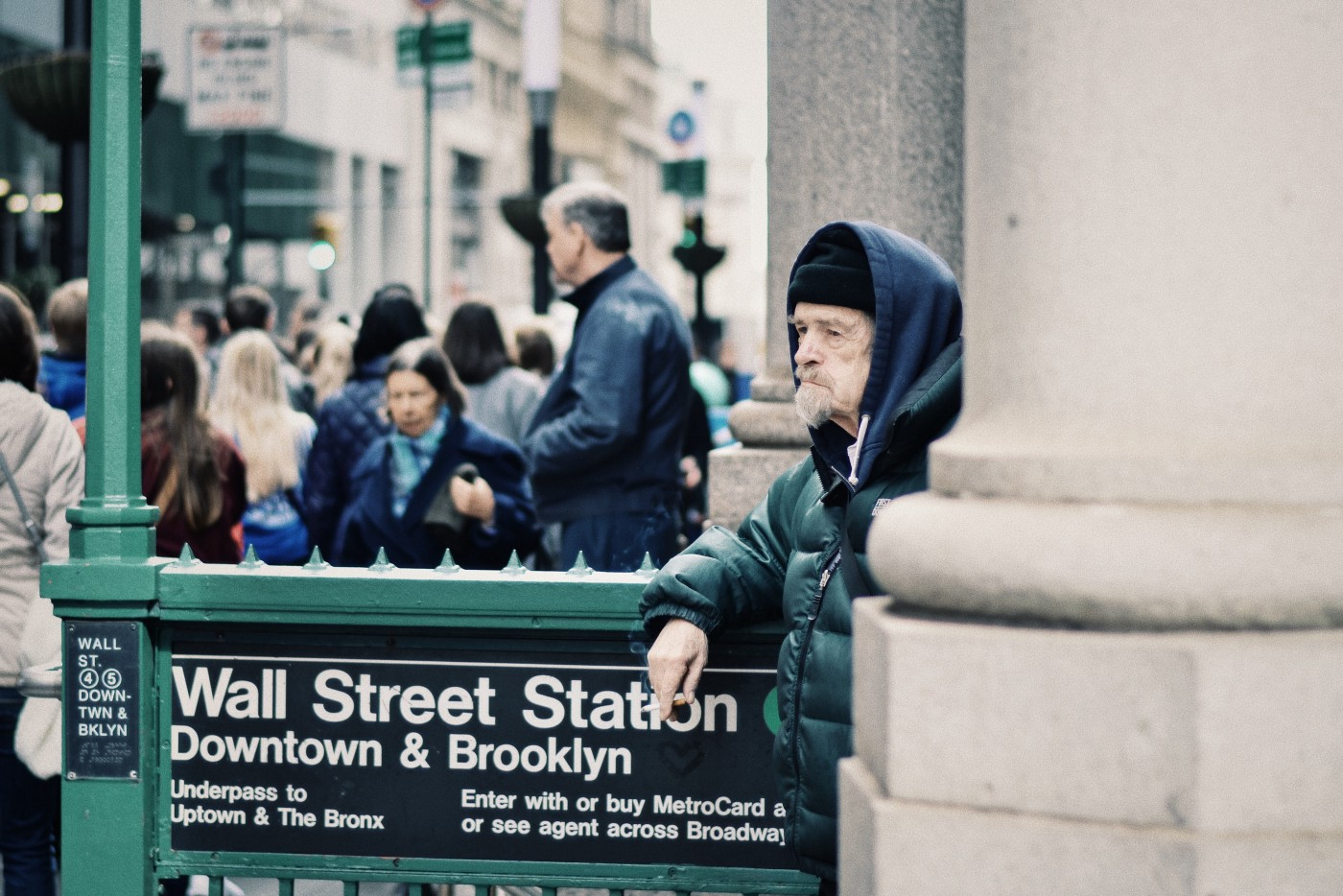 Homeless Old Man on Wall Street