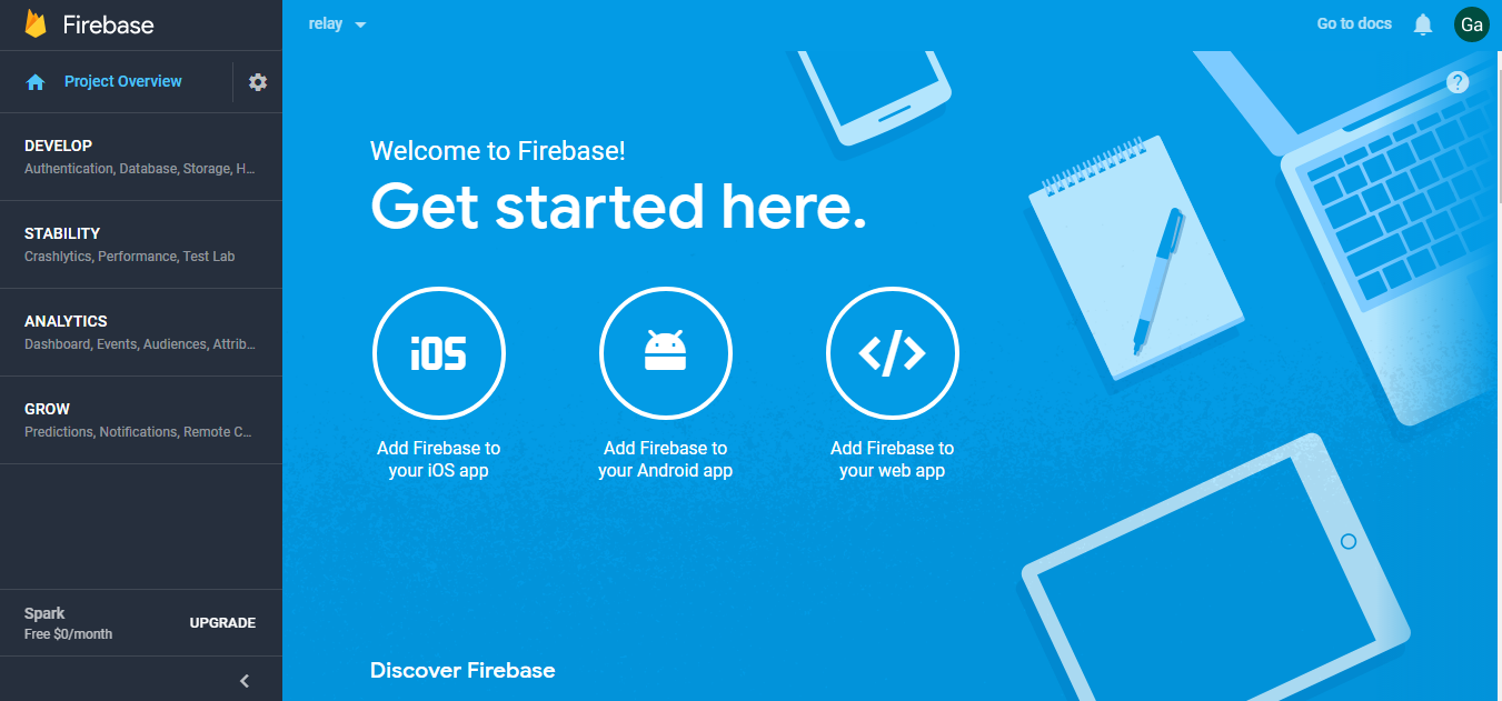 Firebase with realtime Database for IoT applications