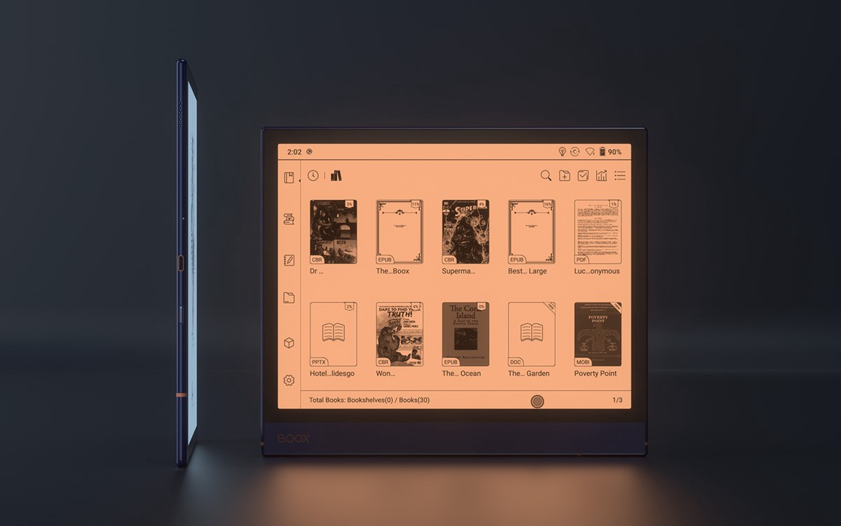Front-lit 10.3inch BOOX Note Air with adjustable front lights in warm and cool tones