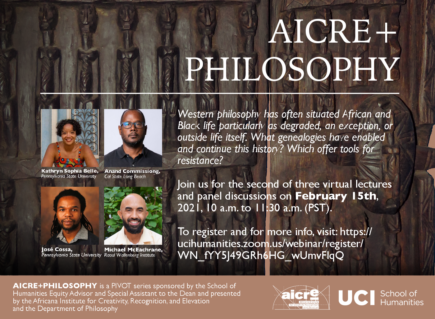 """A flyer featuring photos of the speakers against a photo of a wooden door with human figures on it. In white, it reads, """"AICRE + Philosophy"""""""