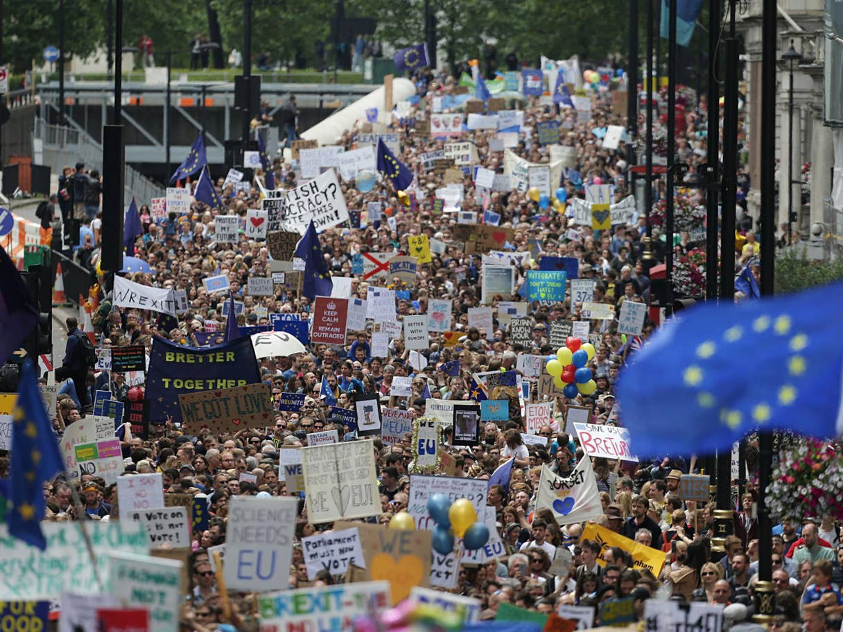 A crowd filling a street view carrying plackards and flags proclaiming their support for the European Union