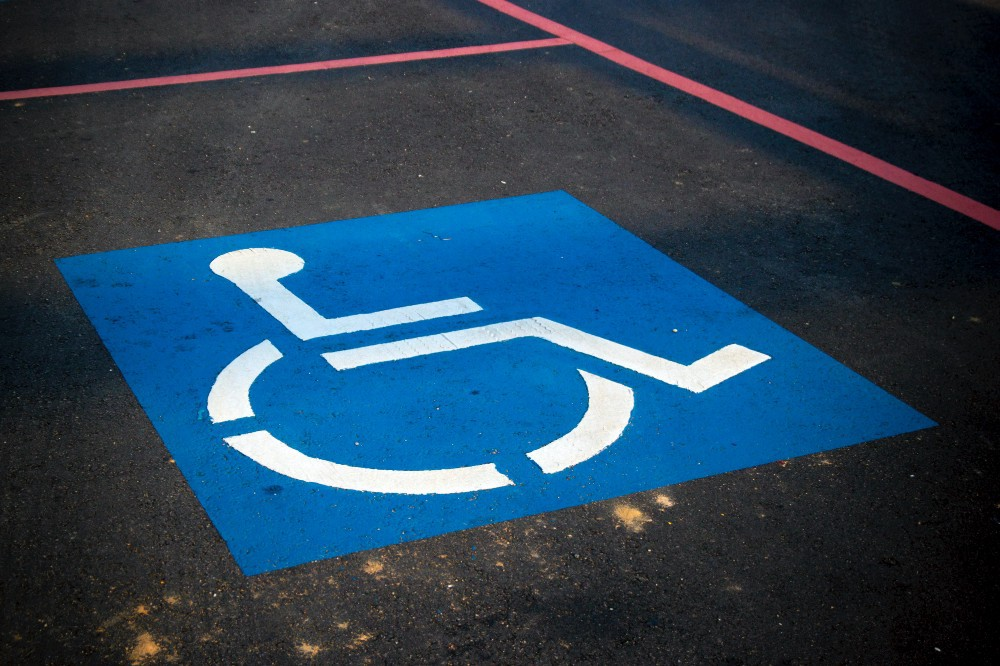 Accessibility marking in a parking spot