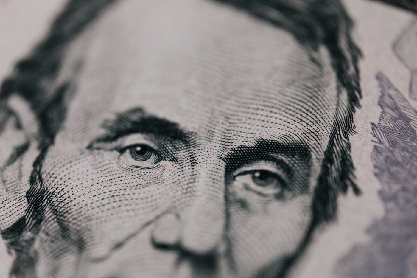 Picture of Abraham Lincoln's eyes on the $5 bill.