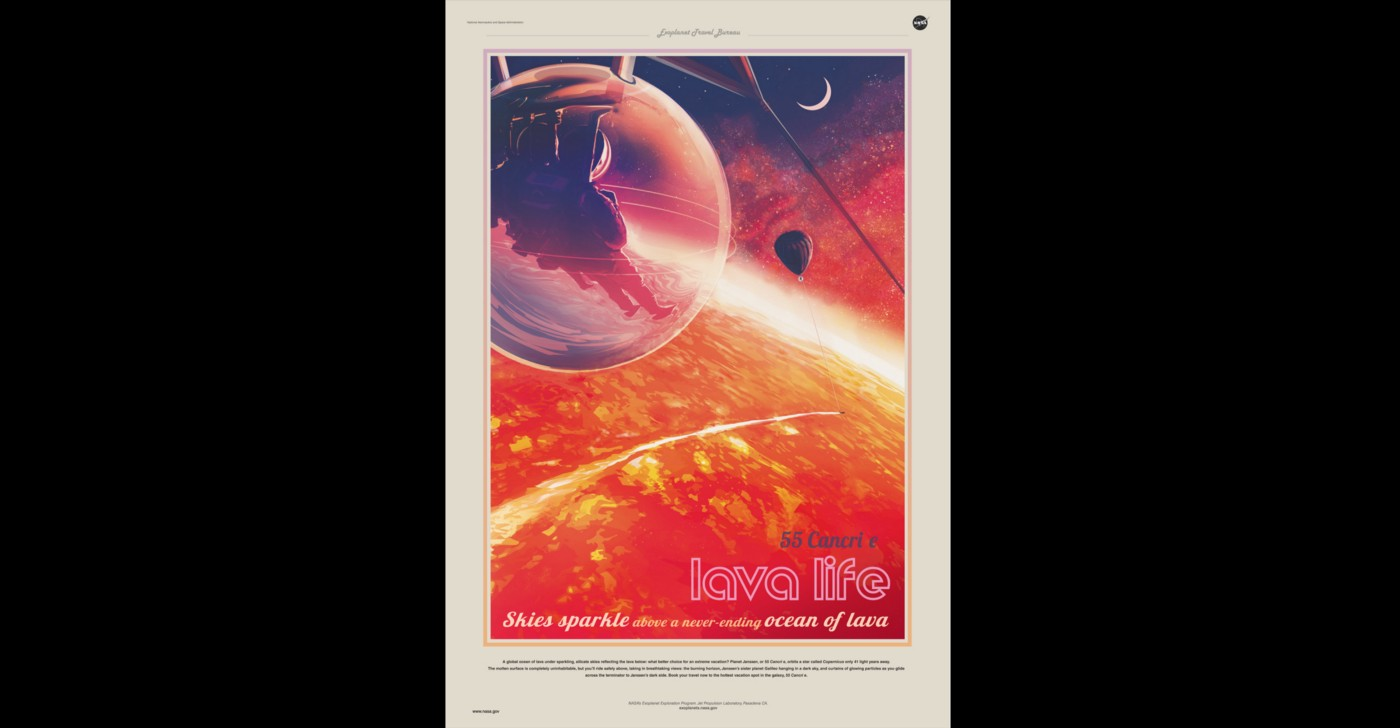 Poster from the NASA Exoplanets Exploration Program's Exoplanet Travel Bureau showing sci-fi image of an astronaut suspended in a globe above a raging lava planet
