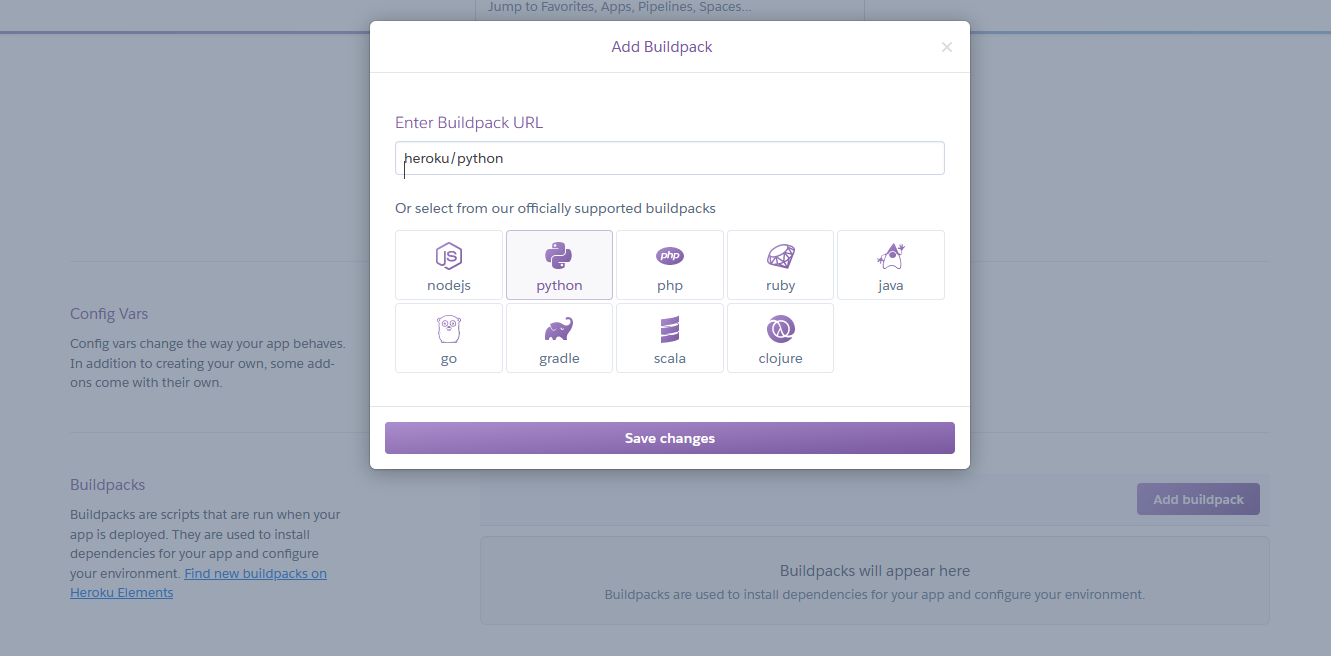 """In your Heroku app's Settings page, click the right-hand side """"Add buildpack"""" button to specify a Python buildpack."""
