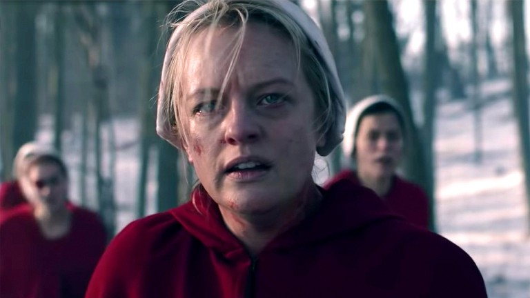 A close up of June Osborn in The Handmaid's Tale trailer for season 4