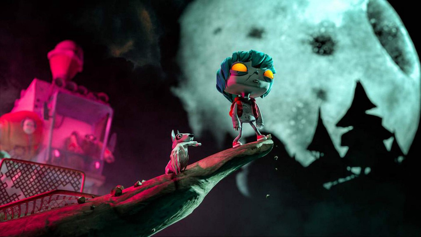 An animated zombie boy and a dog with a severed hand in it's mouth stand on a precipice in front of a giant full moon