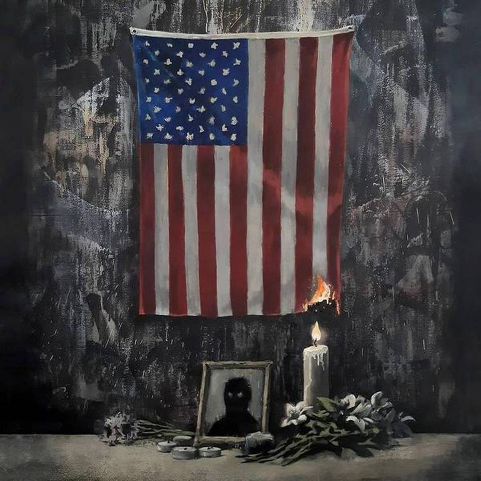 Banksy's tribute to George Floyd (American flag lit by a candle at a memorial for an anonymous black silhouette)