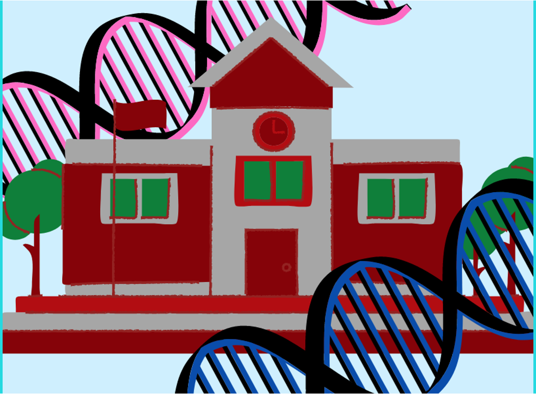A woodcut-style illustration of a school, framed by DNA helixes