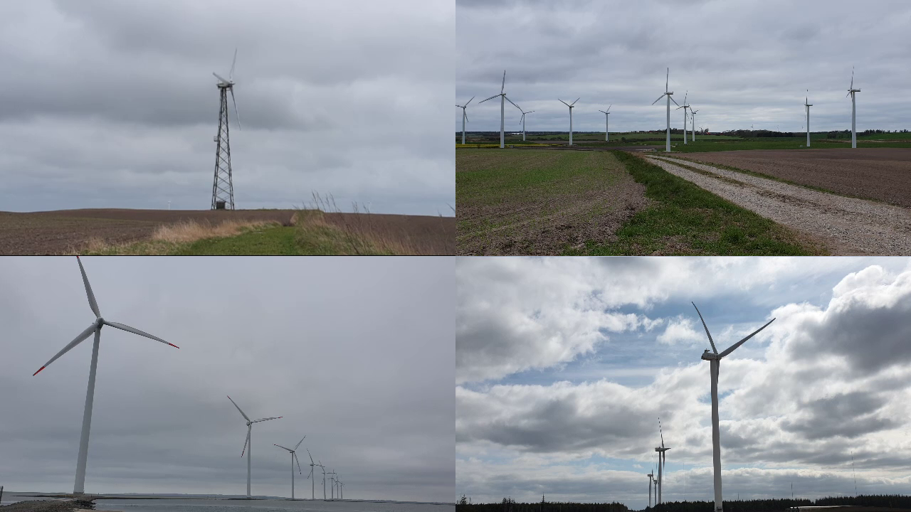 4 different kinds of wind turbine, all with 3 blades