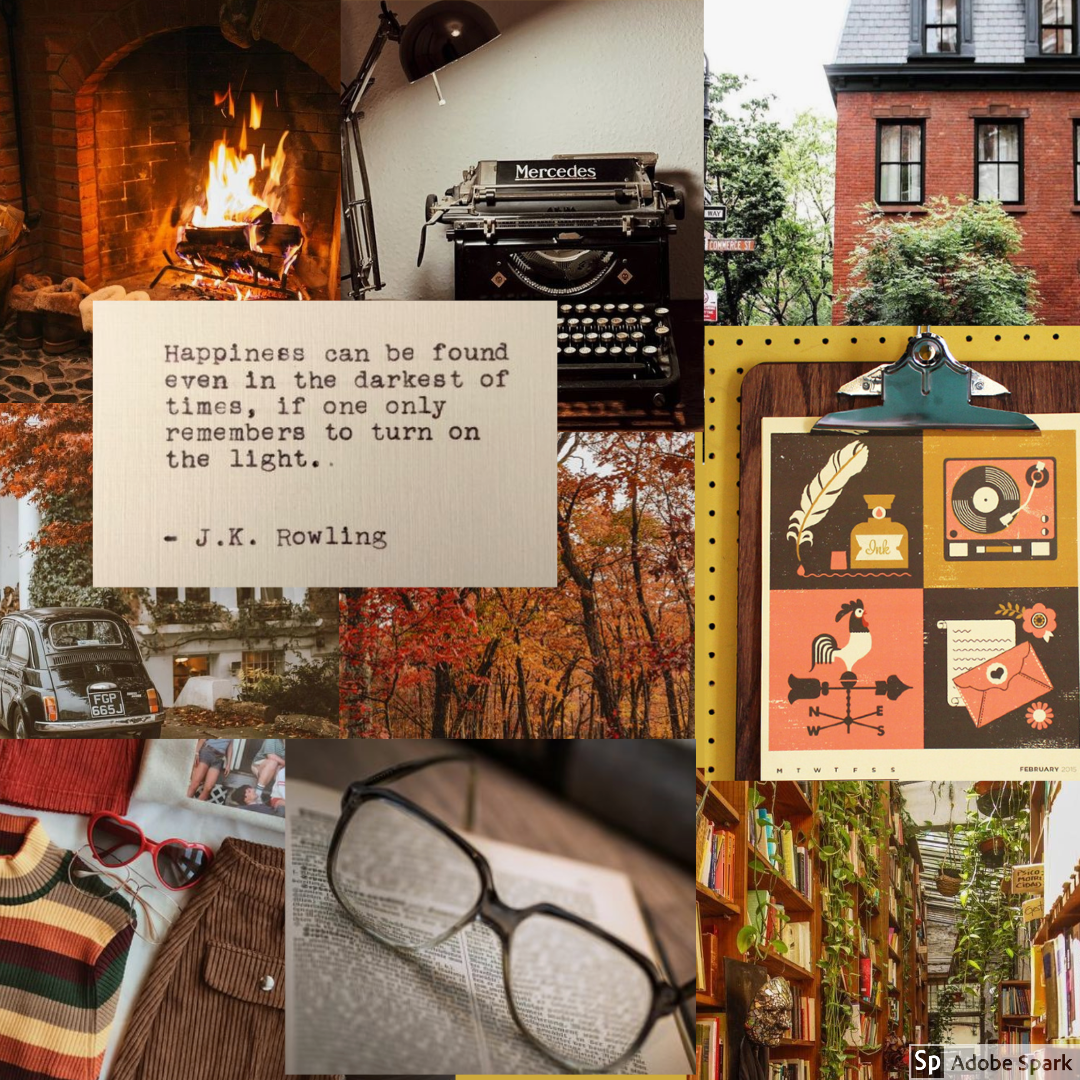 A mood board with warm, autumnal colors and themes