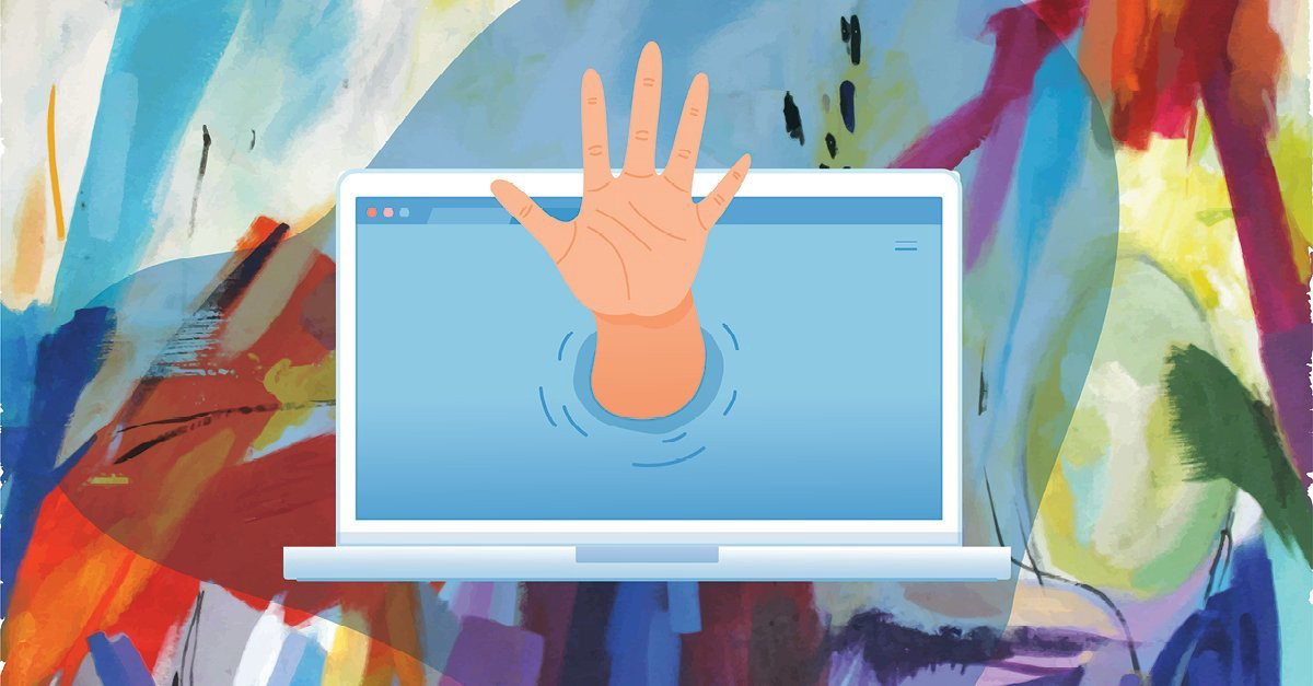 A hand reaching out from a laptop screen, in front of a multicolour background