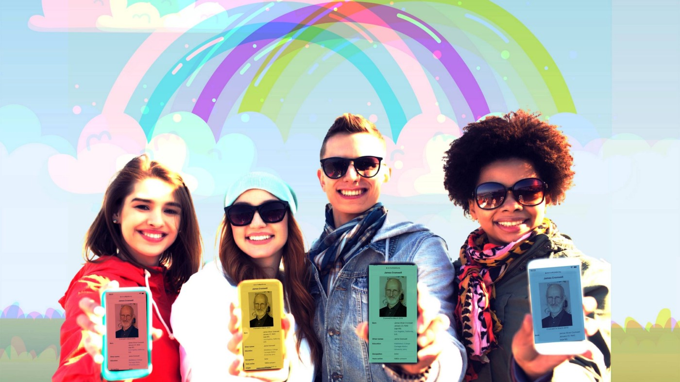 4 people holding out cellphones in front of an illustrated pastel rainbow.