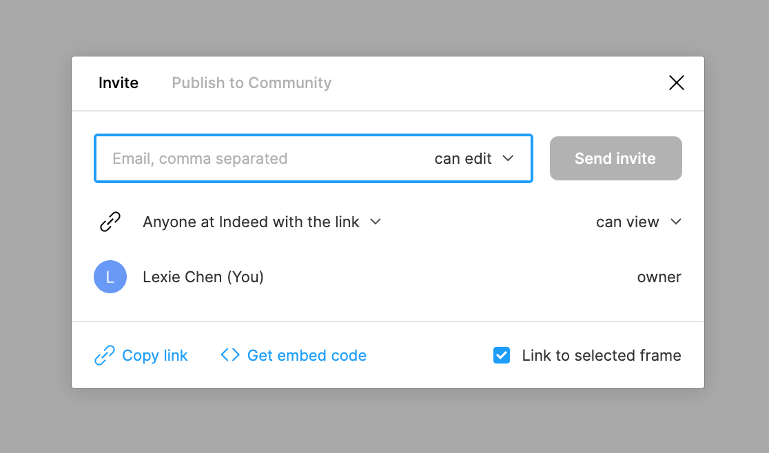 Figma modal for sharing a link to a file. The box is checked to link to selected frame.