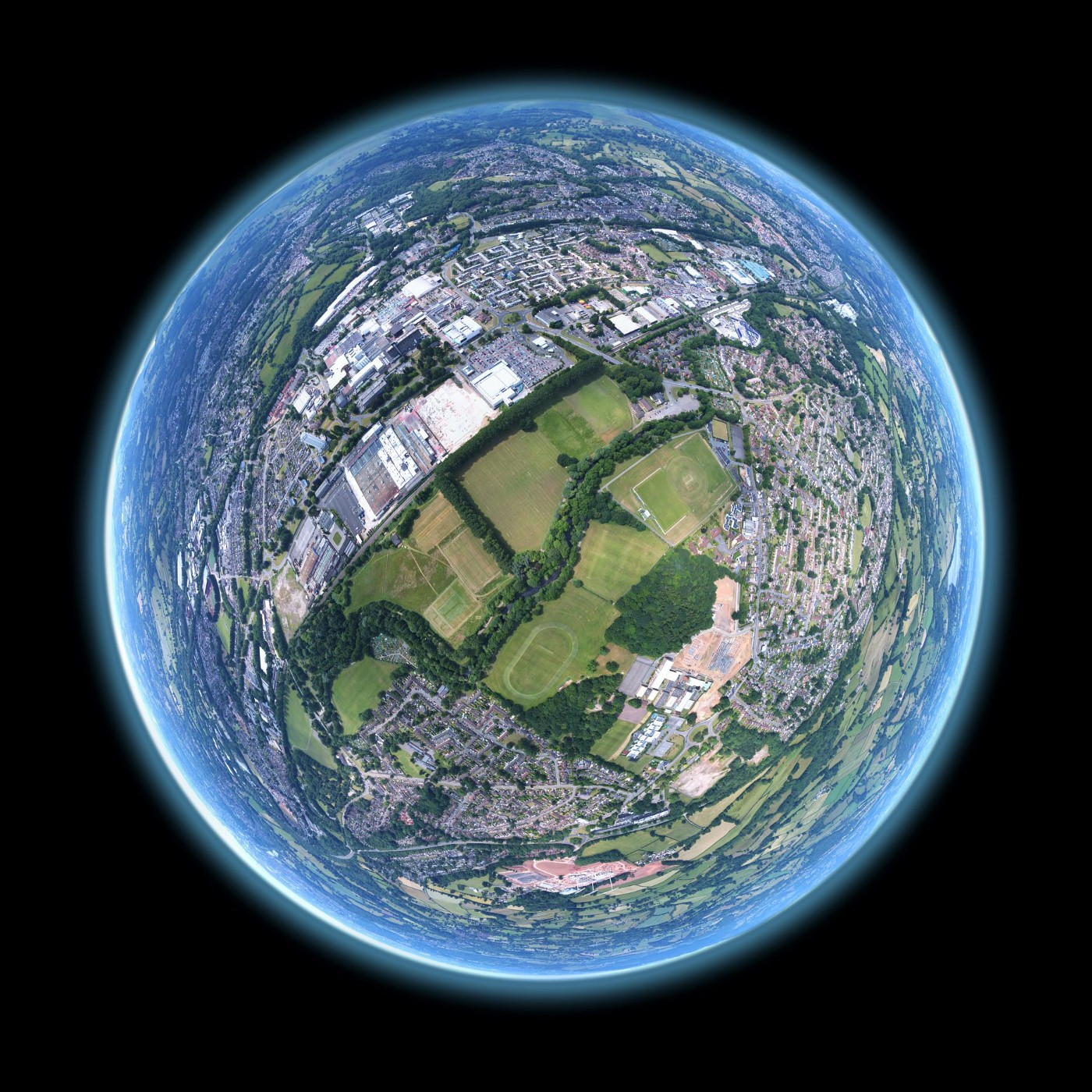 Photo of globe close up view of residential neighborhoods