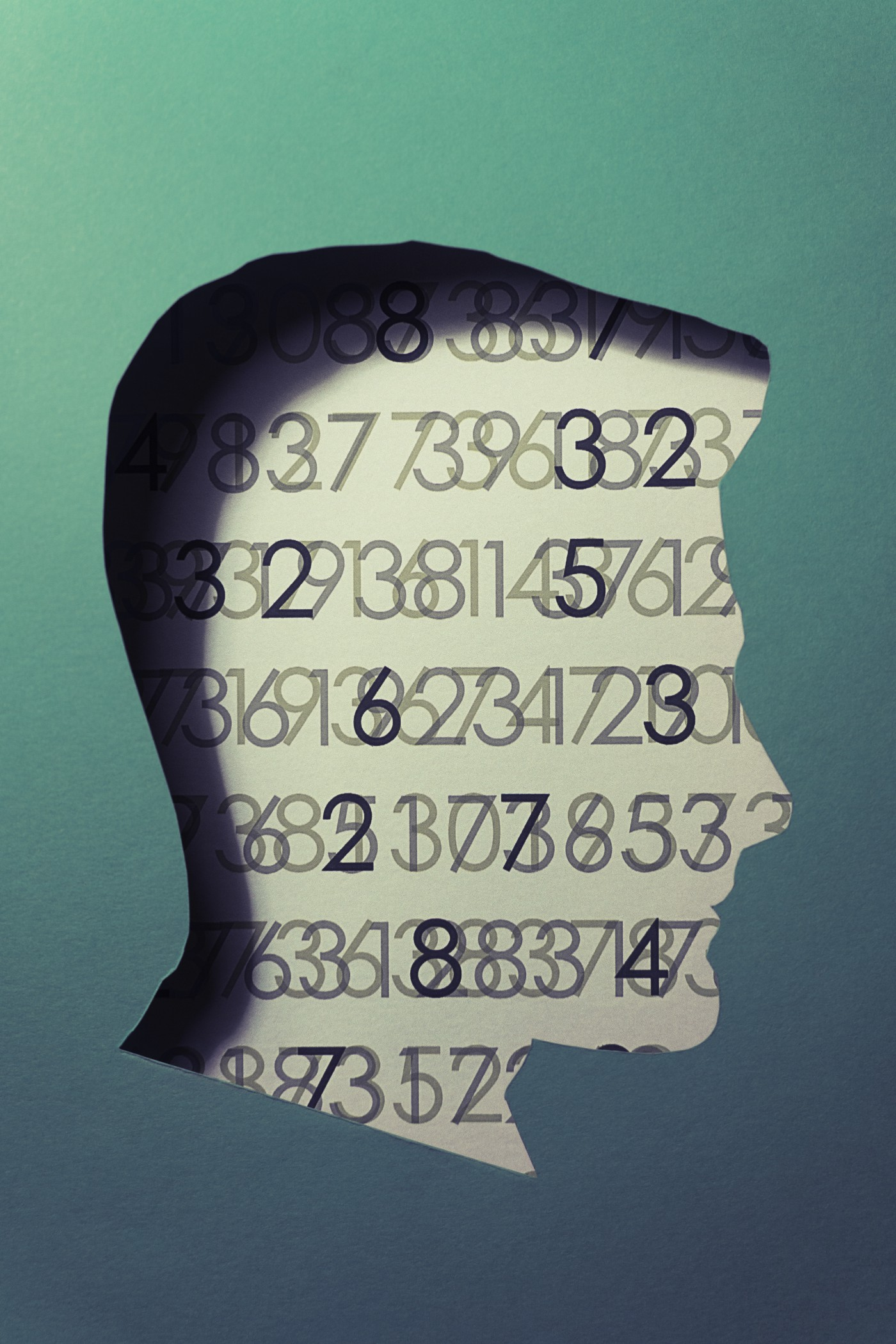 A cut out illustration of a human head with an abstract code background.
