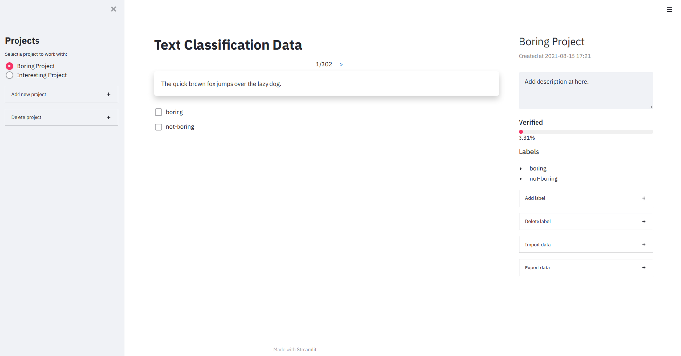 Data labelling tool built with Streamlit