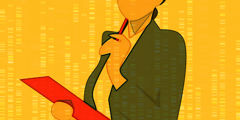 Illustration of a genetic counselor considering a medical chart
