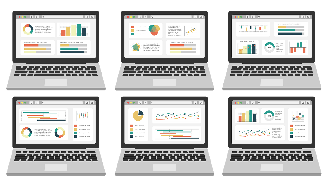 A laptop showing 6 different screens of different visualizations regarding different data. This includes bar charts, pie charts, dashboards, and other visualizations that serve as representations of data.