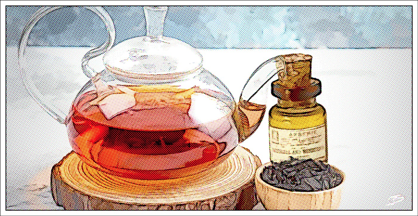 Tea steeping next to arsenic bottle