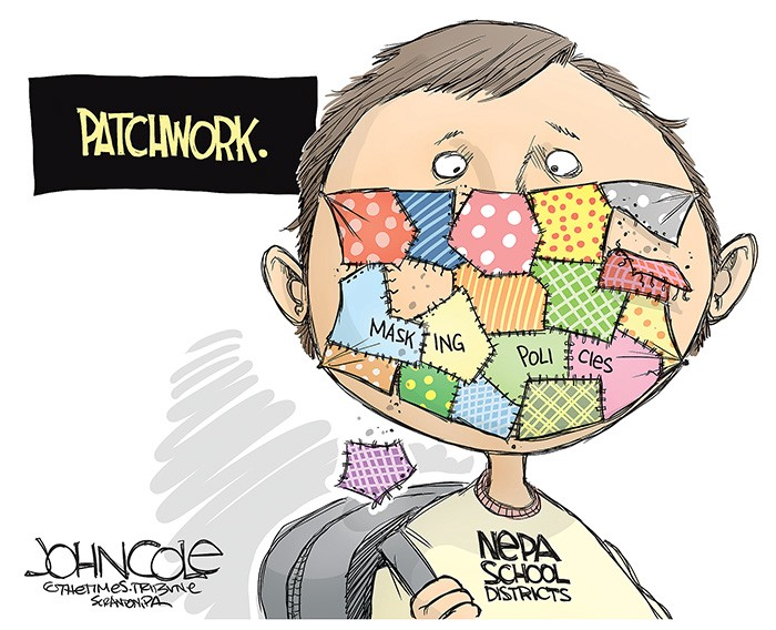 """Labeled """"Patchwork"""" with an image of a child with a face mask made of patches with patches labeled """"masking policies."""""""