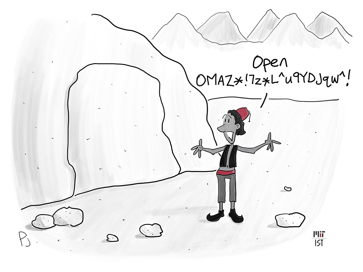 """Cartoon of an Arabic man standing before a cave with a large rock blocking the entrance. His arms are open wife and he says """"Open OMAZ*!7z*L^u9YDJqw^!"""""""