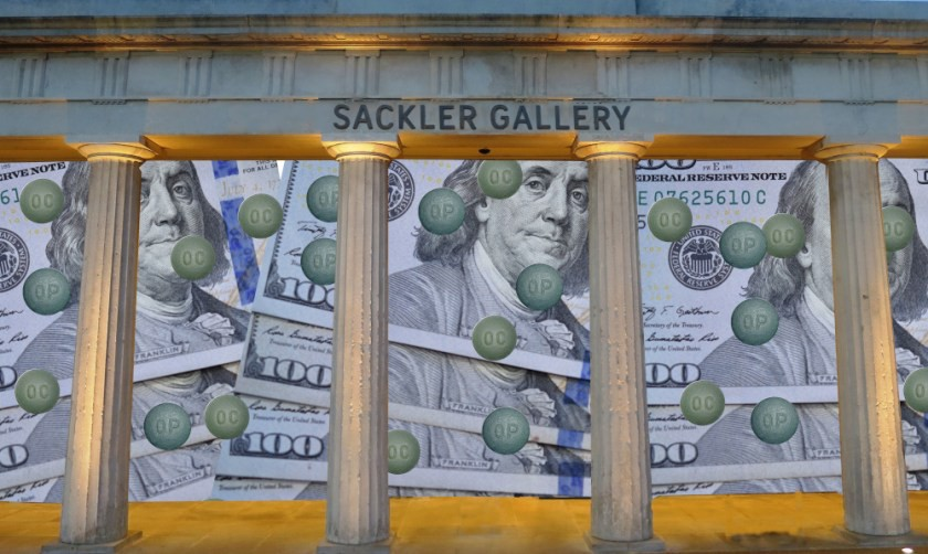The columnated facade of the Serpentine Sackler Gallery; behind the columns, the front of the gallery has been replaced with a mosaic of $100 bills and Oxycontin pills. Image: Geographer (modified) https://commons.wikimedia.org/wiki/File:Serpentine_Sackler_Gallery.jpg CC BY-SA: https://creativecommons.org/licenses/by-sa/4.0/deed.en