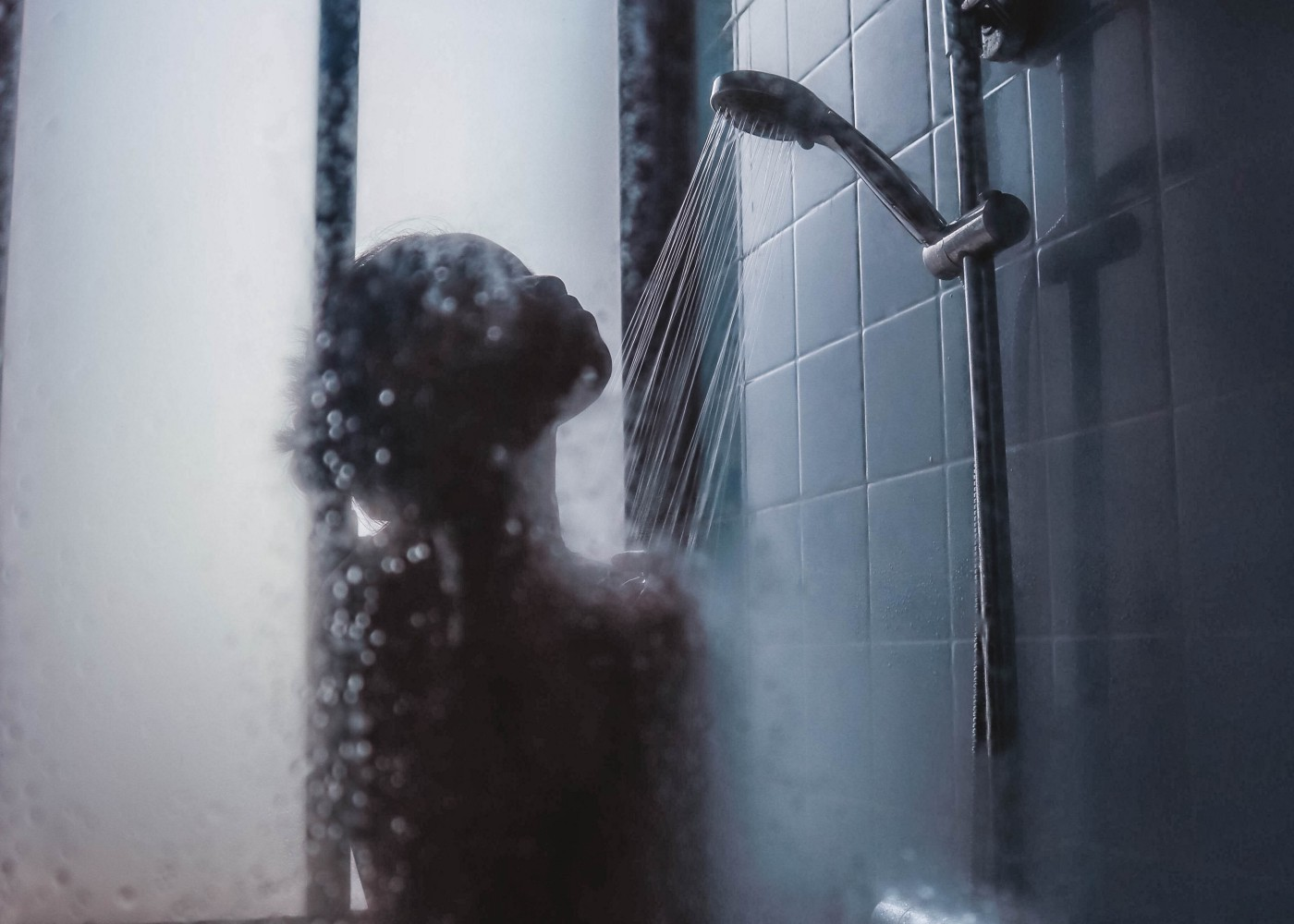 woman alone in the shower