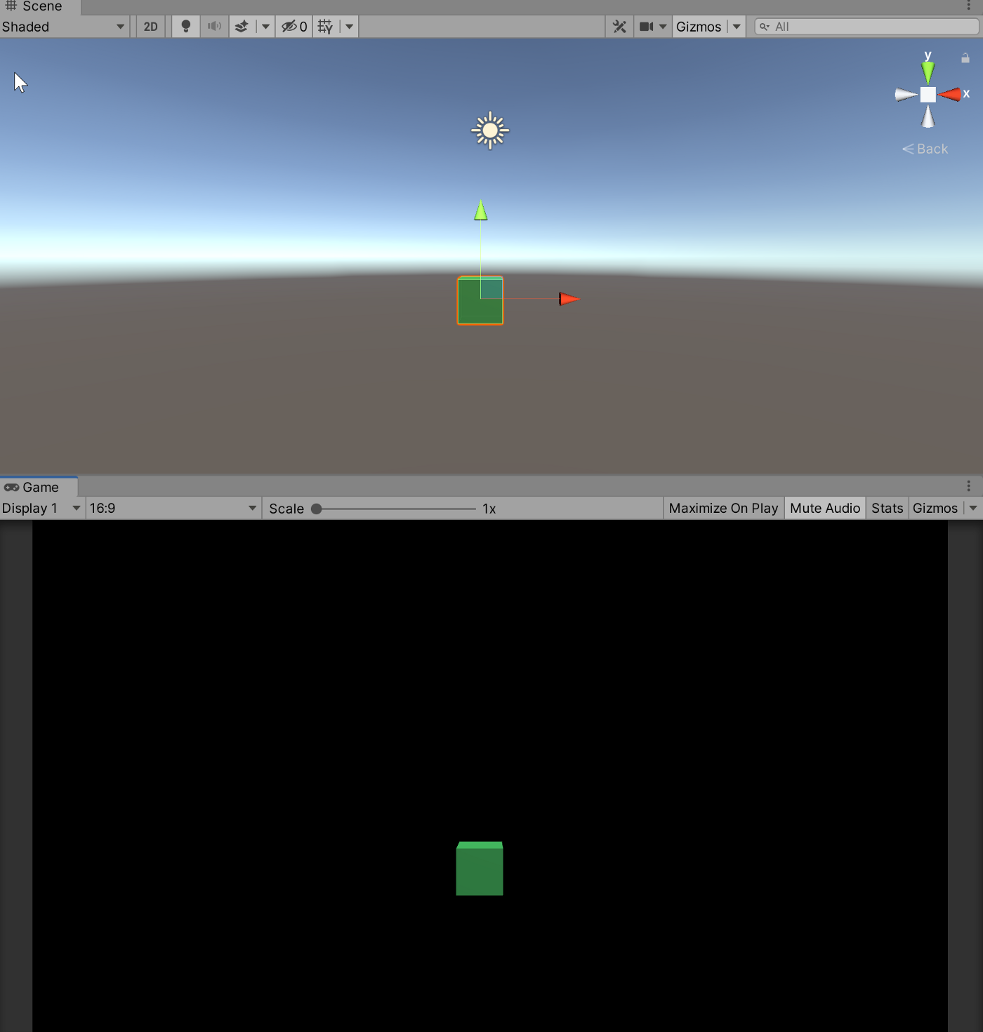 Unity scene and game windows, each showing a green cube.