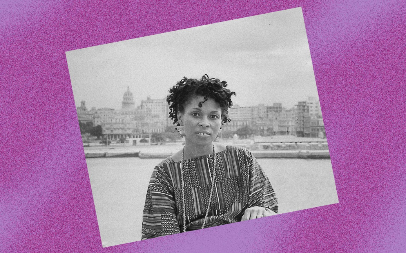 Photo illustration of a black-and-white photo of Assata Shakur against a violet background.