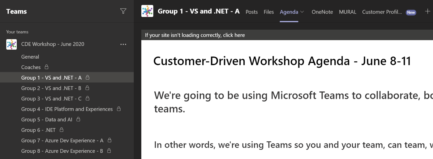 Screenshot showing a group's Microsoft Teams subchannel