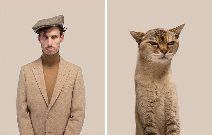 A man dressed in brown and looking up into the corner as if possibly rolling his eyes, next to a brown tabby w a similar face