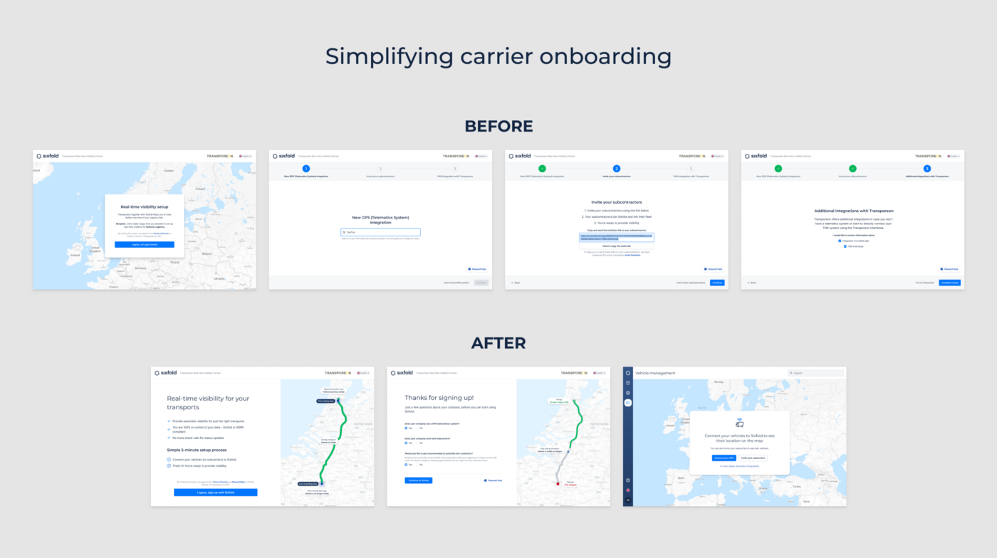 Comparison of old and new onboarding flows. The flow was shortened and streamlined
