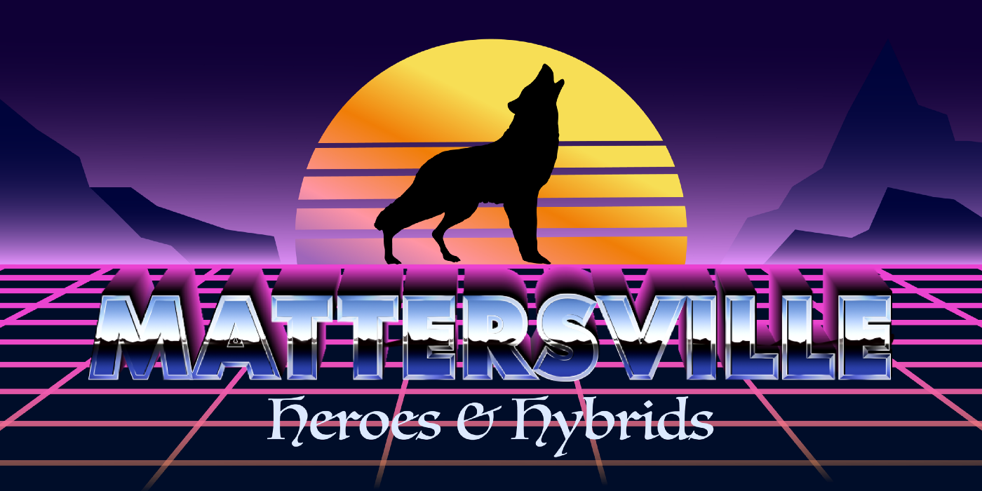 80's style header image featuring a wolf and a sunset.