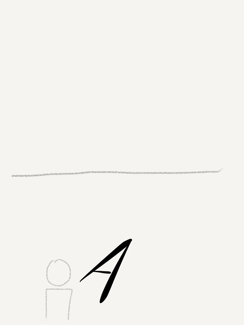 An A is placed like an arrow in front person.