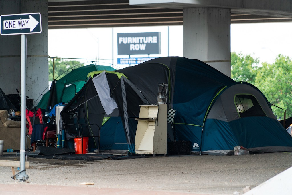 Homeless ten camp in Austin