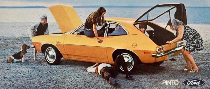 Vintage ad, happy family with Ford Pinto.