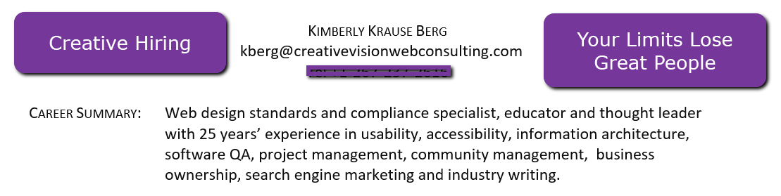 Screen shot of the Professional CV for Kim Krause Berg introduction description about her skills.