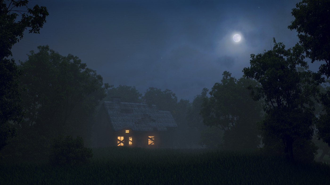 Photo of a cabin in the woods, lush ranks of trees on either side, an opening in front of it something like a yard, but scruffy, done by nature. The cabin has warm yellow light in the windows, but the windows have a couple random boards nailed across. What's that about? Up in the darkened sky is the hazy moon sugaring the scene with misty light.