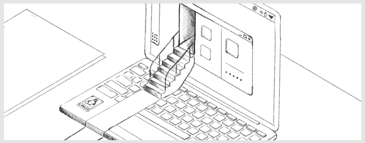 An early sketch of the header used in the official 1Password for Linux launch post. A red carpet is laid out across the keyboard of a laptop with stairs leading up into our new app running on Linux.