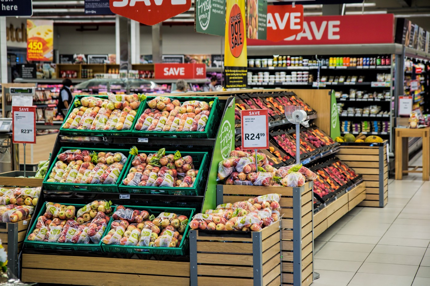 Grocery store produce, being shown on sale, with price savings