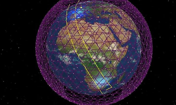 Constellation of Starlink Satellites Around Earth