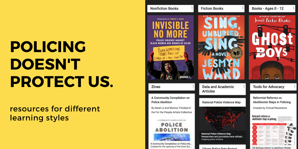 This says Policing doesn't protect us. Resources for different learning styles.. and it has a picture of books, etc.