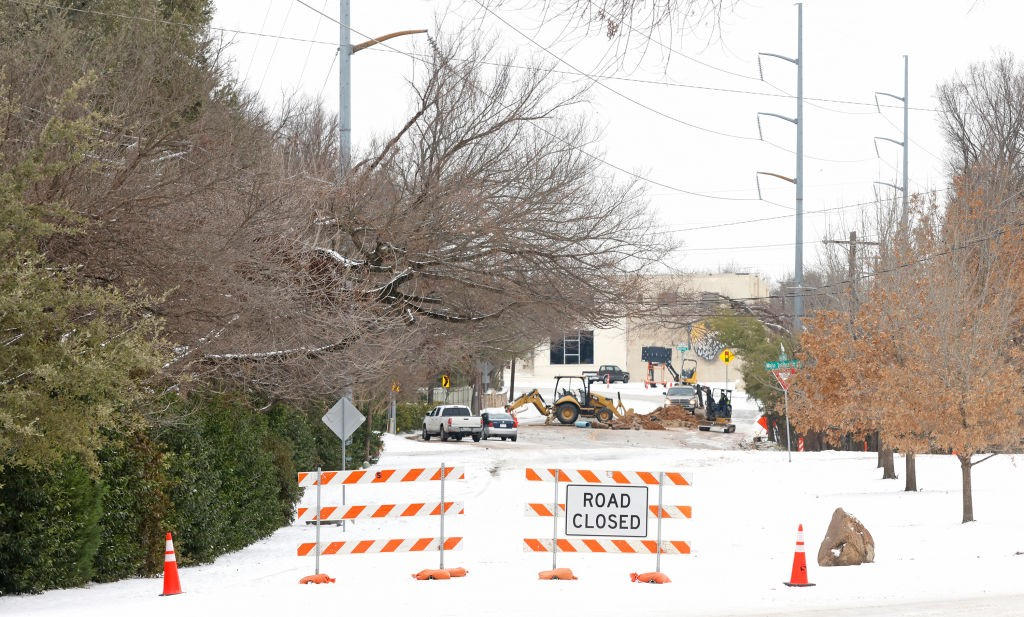Road closure in Fort Worth, Texas, after the winter storm caused a pipe to break.