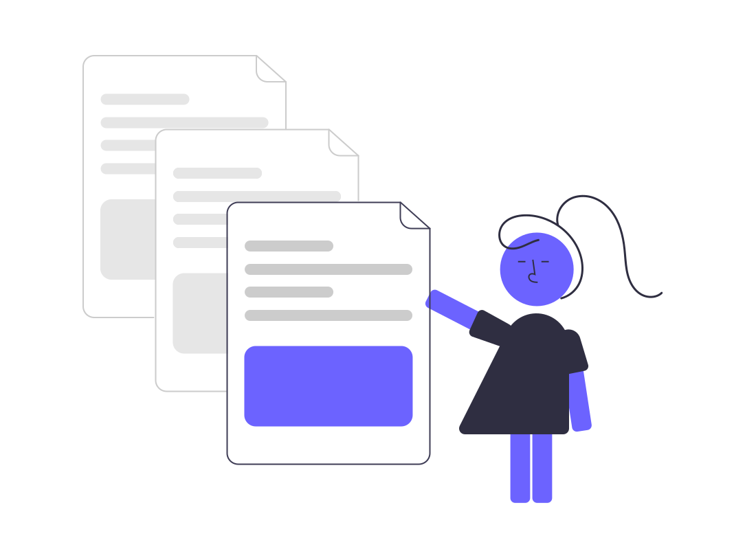 Cartoon character holding up some documentation.