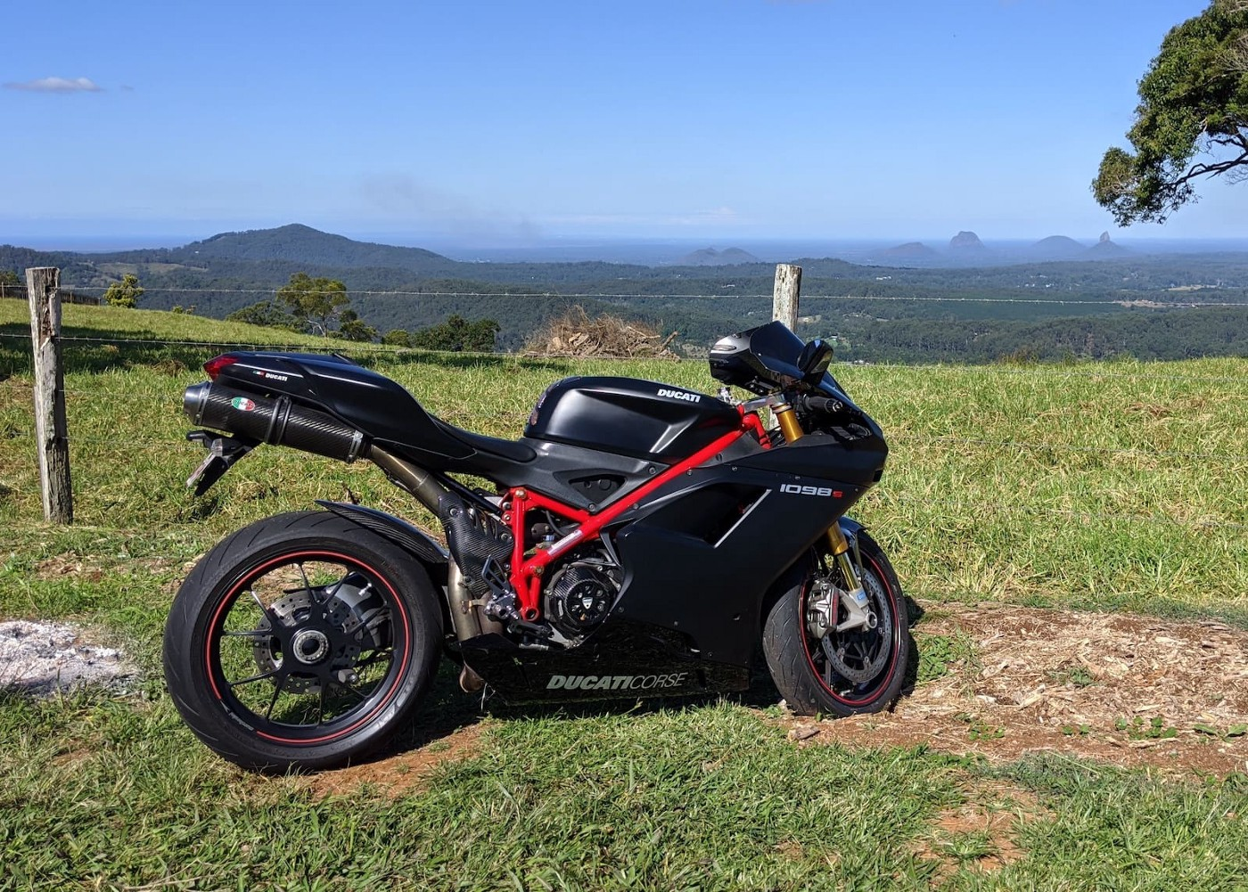 Black Ducati 1098S, Glasshouse mountains, Queensland, Australia