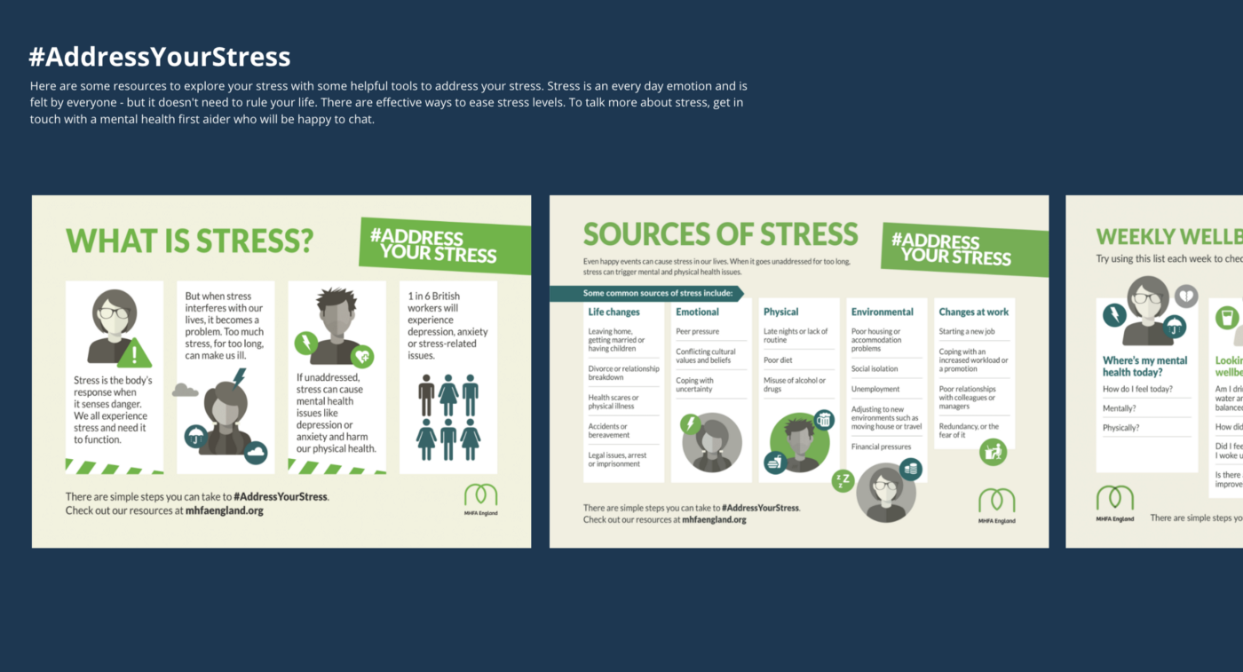 Snippet of some mental health posters, speifically #AddressYourStress